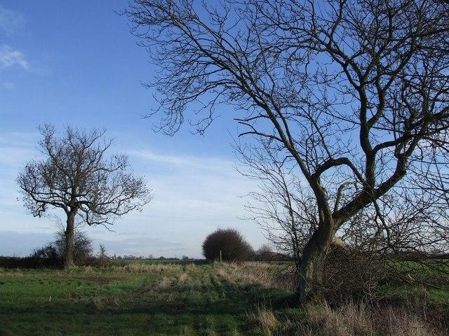Footpath through fields near the A5