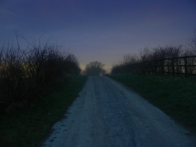 Track to the Ridgeway near Liddington, at night