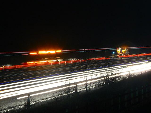M4 night-time roadworks, near Peaks Downs (2)