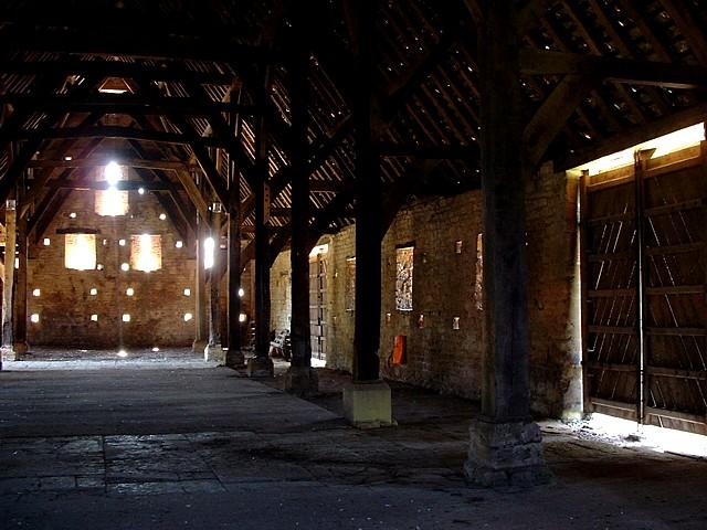 Tithe barn at Bredon - interior