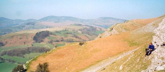 Limestone scarp near Eglwyseg Plantation.