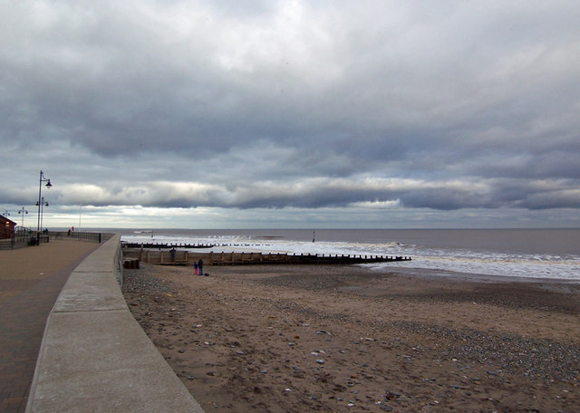 Hornsea Promenade and Beach in January