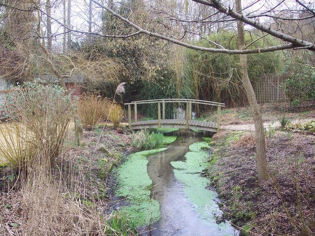 Stream running through gardens in Swallowcliffe