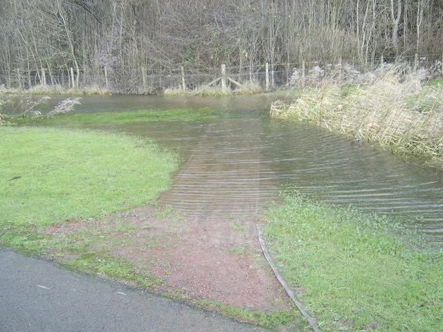Flooded path at Milton