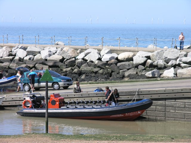Pleasure boat moored to slipway