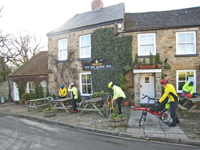 Cyclists at the Bay Horse Inn, Ravensworth