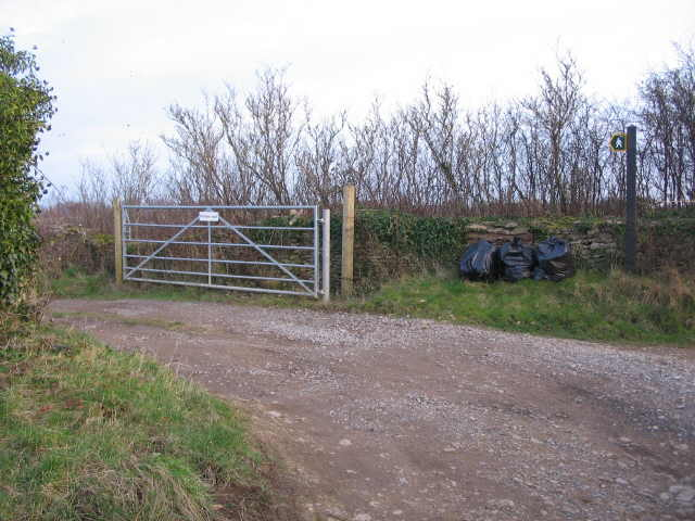 Public footpath, private road.