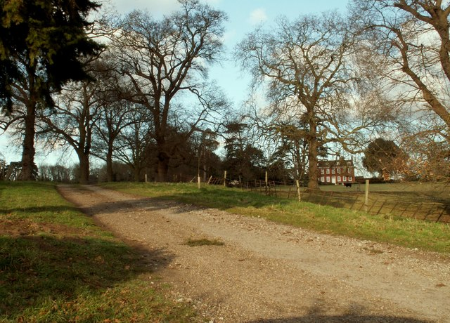 The view along the driveway to Bealings House