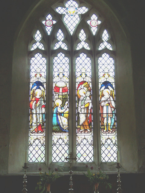 Stained glass window at St Cosmos and St Damian Church