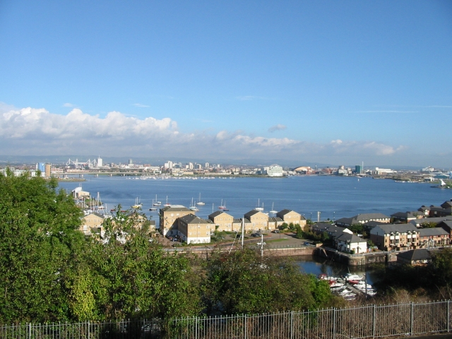 View looking NE across Penarth Flats and Cardiff Bay.