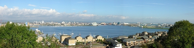 Panorama of Cardiff Bay from Harbour View Road, Penarth.