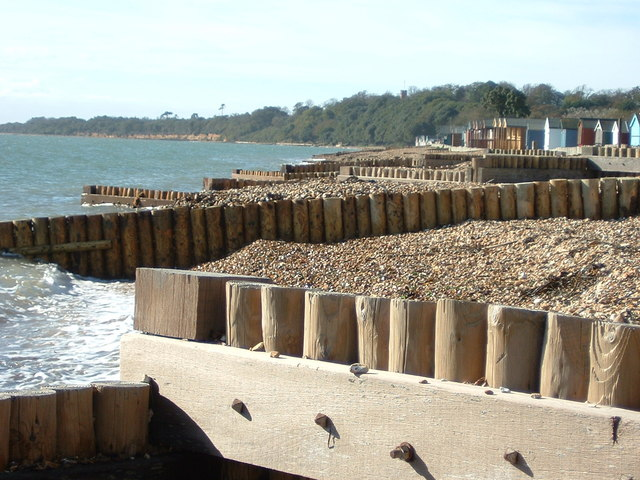 Strong and sturdy breakwaters on Calshot Beach