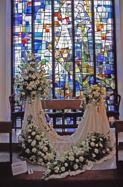 Stained Glass Window and Wedding Veil Exhibit at Flower Festival, St Thomas's Church, N14