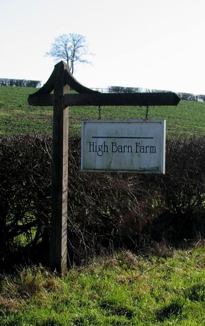 High Barn Farm sign