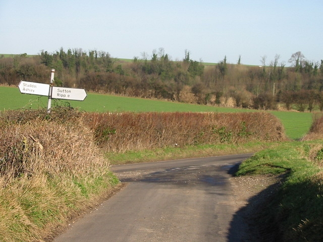 Junction of Northbourne and Stoneheap roads, looking N