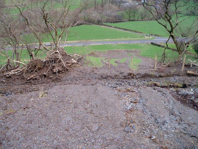 Flood debris near Llwyn-y-grug