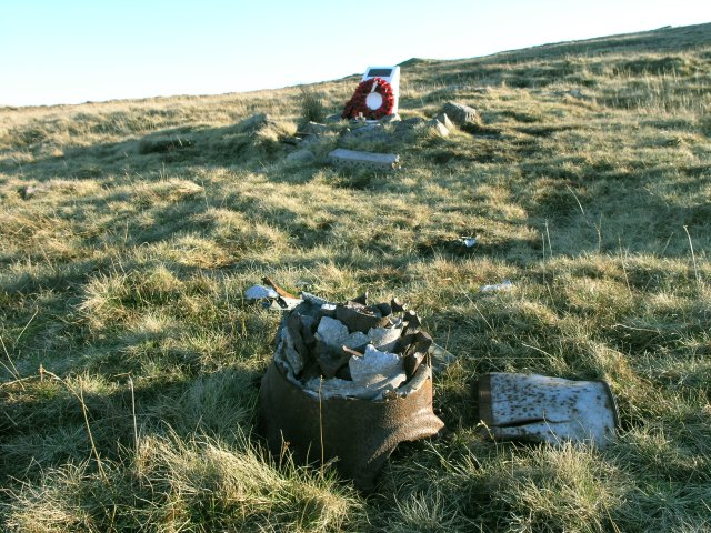 Remains of a Lancaster aircraft and memorial