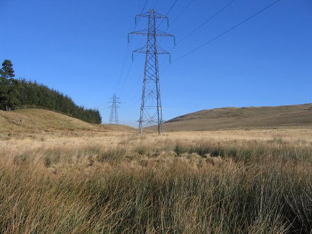 Pylons crossing moorland