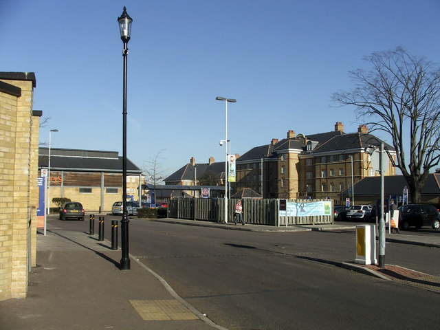 Entrance to Florey Square looking towards Sainsbury's Supermarket, N21