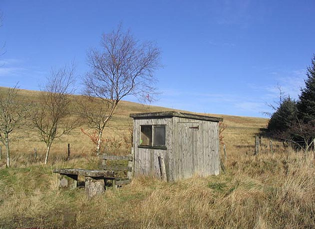 Fishing hut at Arkleton Lochan