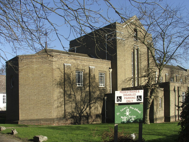 St Peter's Church, Vera Avenue, Grange Park, N21, from side entrance