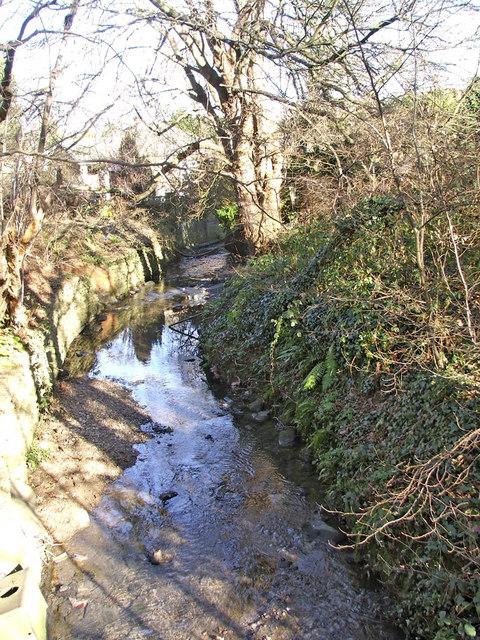 Houndsden Gutter looking east from footbridge between Nestor Avenue and Deepdene Court, N21
