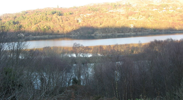 The Llyn Padarn Lagoon and old L&NWR causeway from Pen-gilfach