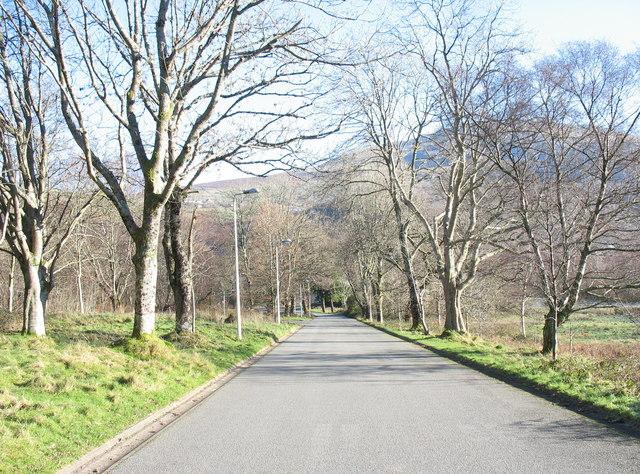 The Glynrhonwy industrial estate entrance road