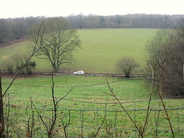 View of fields and road from Covert Woods