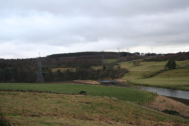 Pylon line crossing the Don near Ardtannes.