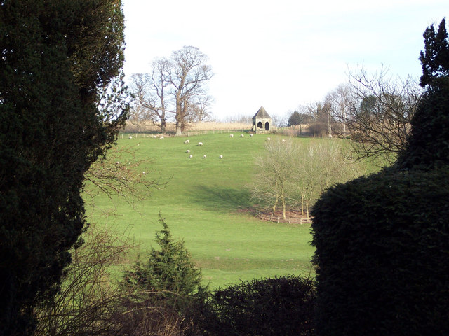 View of folly in Compton Park from St Michaels Church