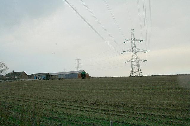 Pylon line to east of Mains of Blackhall Farm.