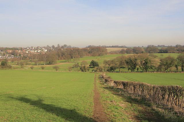 Wayfarer's Walk descends towards Alresford Golf Course