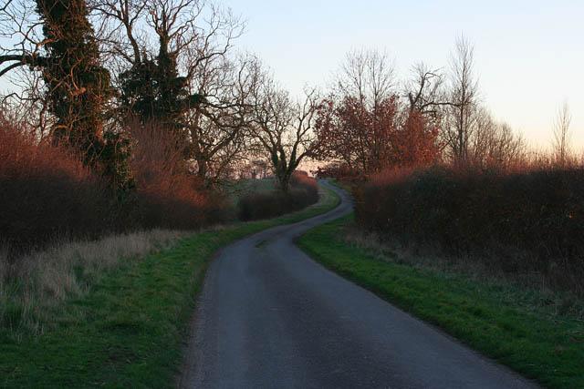 Lincolnshire lane at dusk