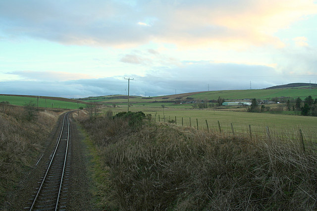 Southwards down the line with Inveramsay Farm on the right.