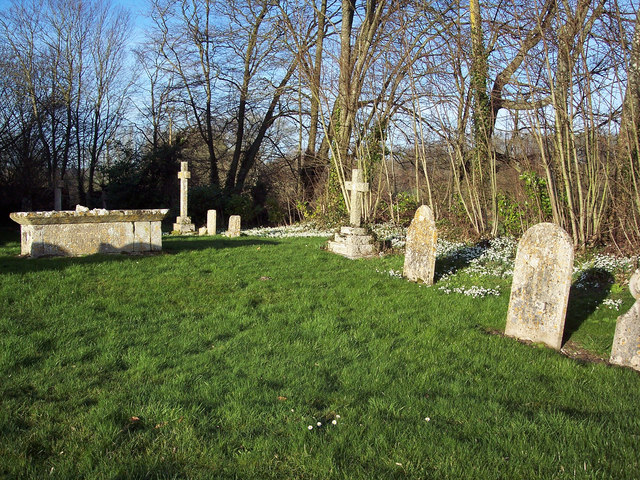 Gravestones and Snowdrops at St Editha, Baverstock