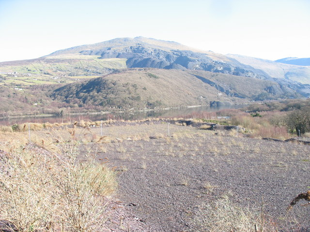 Reclaimed tipping areas of the Lower Glynrhonwy Quarry