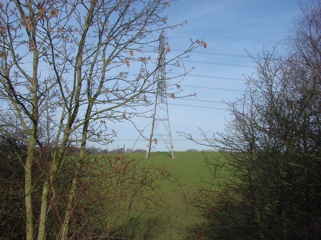 Pylon line, seen from disused railway line.