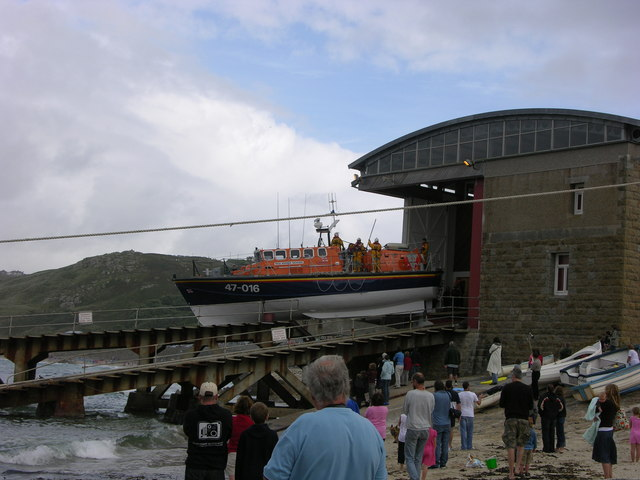 "The ""Norman Salvesen"" Lifeboat at Sennen Cove out for an exercise, August 2004"