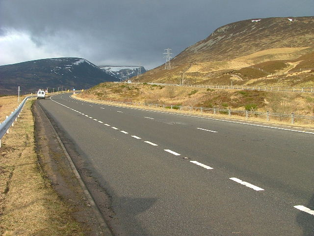 "Northbound Carriageway of the A9 near the ""Centre of Scotland"""