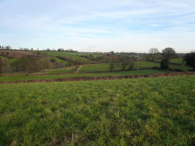 View  across fields to Woolley Moor