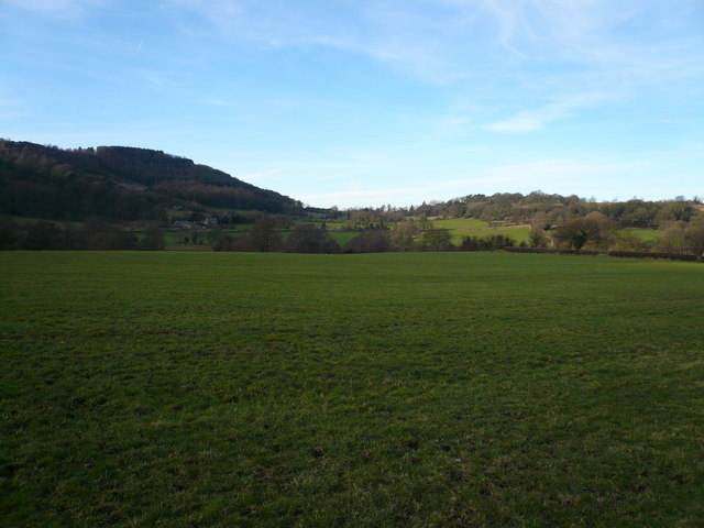 View across fields to Overton