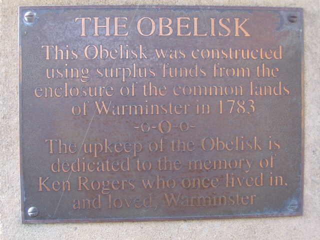 Plaque on the Obelisk, Warminster