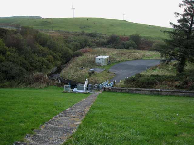 The dam at Penwhapple Reservoir