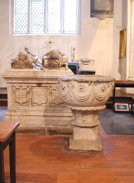 St Michael & All Angels, Lambourn, Berks - Tomb & Font