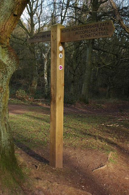 The meeting of the Staffordshire Way and the North Worcestershire Way