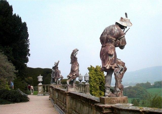 Lead statues on terrace wall, Powis Castle