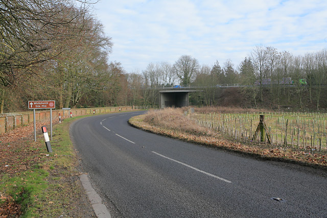 B3400 passing under the A34 at Whitchurch