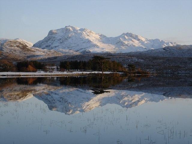 Beinn Airigh Charr reflected in Loch nan Dailthean