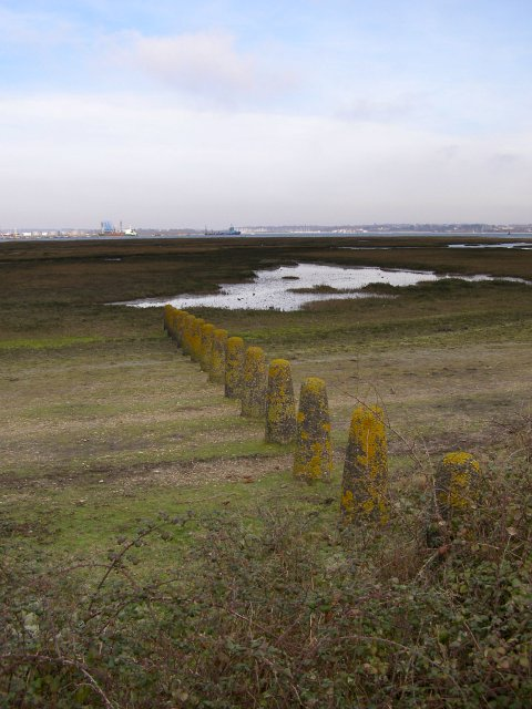 Bollards north of Fawley power station